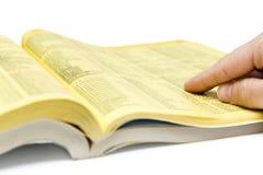 Recherche de Yellow Pages Image stock