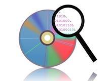 Recherche des données sur CD/DVD Image stock