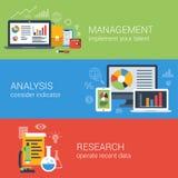 Recherche en gestion plate d'analytics d'analyse commerciale infographic Photographie stock