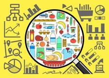 Recherche et analyse de panier de biens de consommation Image stock
