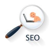 Recherche et analytics Enfant en bas âge de concept d'affaires avec un ordinateur portable Seo Infographics ou site Web d'élément illustration stock
