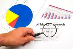 Recherche et comptes de marché Photographie stock