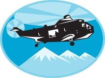 Recherche et sauvetage de découpeur d'hélicoptère illustration stock