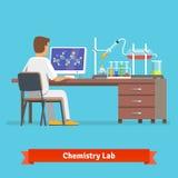 Recherche médicale de technicien de laboratoire de chimie Photographie stock
