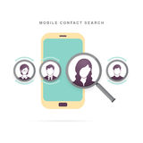 Recherche mobile de contact Image libre de droits