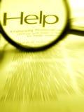 Recherche nach Wort Hilfe beim Vergrößerungsglas lizenzfreie stockfotos