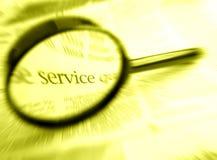 Recherche nach Wort Service mit Vergrößerungsglas lizenzfreies stockfoto