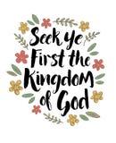 Recherche YE d'abord le royaume des cieux Image stock