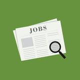 Recherchez Job On Newspaper Image stock