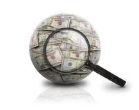 Recherchez la bille d'argent de finances sur le blanc Photographie stock