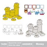 Recherchez le mot caché, le jeu éducatif simple d'enfant illustration libre de droits