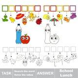 Recherchez le mot caché, le jeu éducatif simple d'enfant Images libres de droits