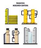 Recherchez les laboratoires de bâtiments et les centres médicaux et biologiques Vecteur illustration de vecteur
