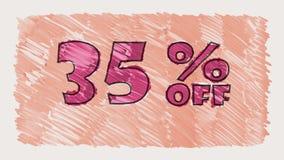 Rechnen Sie 35 Prozent heruntergesetzt Markierung auf gezeichneter nahtloser Schleifenanimation des Tafeltextes Karikatur - Retro stock video