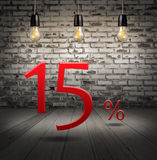 rechnen Sie 15 Prozent heruntergesetzt mit Sonderangebot des Textes Ihren Rabatt herein ab Lizenzfreie Stockbilder