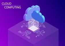 Rechnende Wolke und als Servicekonzept isometrische Illustration des Vektors 3d lizenzfreie abbildung