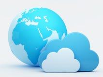 Rechnende Wolke, Wolken mit blauer Kugel Lizenzfreie Stockfotos