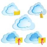 Rechnenikonen der Wolke mit Faltblättern und Pfeilen Lizenzfreies Stockbild