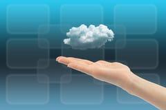 Rechnenkonzept der Wolke mit der Frauenhand Stockbilder