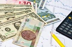 Rechner, Geld und Diagramm Stockbild