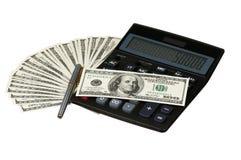 Rechner und Geld Stockfoto