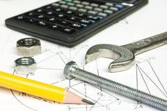 Rechner und messende Ausrüstung stockfotografie