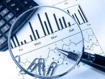 Rechner und Vergrößerungsglas (im Blau) Lizenzfreie Stockfotos