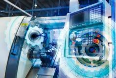 Rechnersteuerungskontrollbereichdrehbank mit numerischer Steuerung bedeckte Illustrationsgangrad, High-Teche Digitaltechnikindust stockbilder
