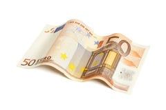 Rechnung des Euros fünfzig lokalisiert mit Beschneidungspfad Stockfoto