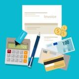 Rechnung, die Zahlungsgeld-Taschenrechnerlohn fakturiert Stockbild