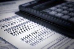 Rechnung für Zahlung des Dienstprogrammes: wate Lizenzfreie Stockfotos