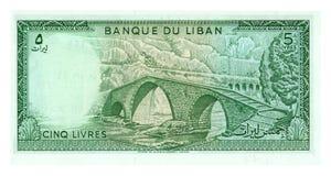 Rechnung mit 5 Livren vom Libanon Lizenzfreie Stockfotos