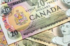 Rechnungen des Kanadiers $20 Stockfoto