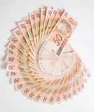 Rechnungen - 50 Reais, brasilianisches Geld Stockfotografie