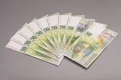 Rechnungen 50 Schweizer Franken Stockbild