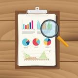 Rechnungsprüfungsdiagramm-Datenanalyse-Ergebnis-Papierdokumenten-Finanzfinanzbericht mit Lupe vektor abbildung