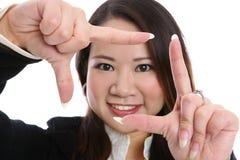 Recht asiatischer Frauen-Fokus Lizenzfreies Stockfoto