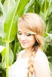 Recht blond auf dem Maisgebiet Stockbilder