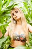 Recht blond auf dem Maisgebiet Lizenzfreie Stockfotografie