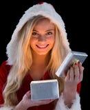 Recht blond im Sankt-Ausstattungsöffnungsgeschenk Stockfotografie
