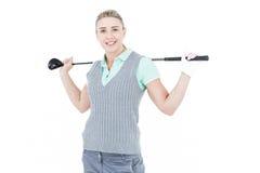 Recht blonde Aufstellung mit Golfausrüstung Lizenzfreies Stockbild