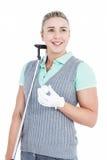 Recht blonde Aufstellung mit Golfausrüstung Stockbild