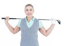 Recht blonde Aufstellung mit Golfausrüstung Lizenzfreie Stockbilder