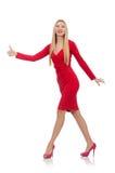 Recht blonde Dame im roten Kleid lokalisiert auf Lizenzfreies Stockbild
