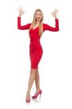 Recht blonde Dame im roten Kleid lokalisiert auf Stockfotos
