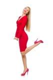 Recht blonde Dame im roten Kleid lokalisiert auf Stockbild
