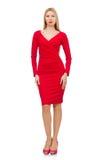 Recht blonde Dame im roten Kleid lokalisiert auf Lizenzfreie Stockfotos