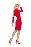 Recht blonde Dame im roten Kleid lokalisiert auf Lizenzfreie Stockbilder