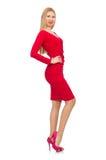 Recht blonde Dame im roten Kleid lokalisiert auf Weiß Lizenzfreies Stockfoto
