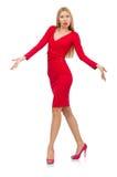 Recht blonde Dame im roten Kleid lokalisiert auf Weiß Lizenzfreies Stockbild